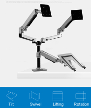 Desktop Full Motion 17-32inch Dual Monitor Holder Mount Arm +10-15.6inch Laptop Support Mechanical Spring Arm Max.Loading 10kgs