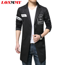 LONMMY 2018 Autumn Mens trench coat Mens overcoat Long trench coat men Windbreaker Slim fit Casual Lapel collar Black White(China)