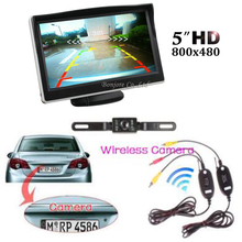 "2017 5"" TFT 800 x 480 Hd Monitor & Wireless Car Rear View System Backup Reverse Camera Kit Night Vision license plate camera Kit"