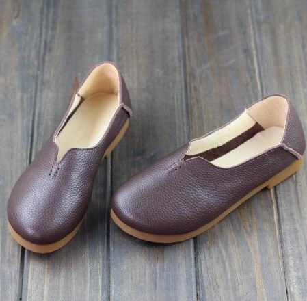 Careaymade-New stylw Spring ,The retro literature Mori girl flat shoes, Handmade genuine leather shoes,Slip-on for lazy shoes<br>