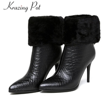 Buy 2017 fashion brand winter shoes black pointed toe women mid-calf boots genuine leather warm office lady high heel causal boots L for $72.80 in AliExpress store