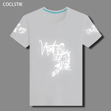 100% Cotton Childrens/Mens Summer White Tshirts Male Light Reflective Shuffle Dancing T Shirt Ghost Dance Hip Hop T-shirts S-5XL(China)
