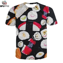 BFUSTYLE T Shirt Men 2017 Summer Tops Tee Shirt Homme Casual Brand Clothing 3D Funny Sushi Print Tie Dye Graphic Tshirt T Shirts