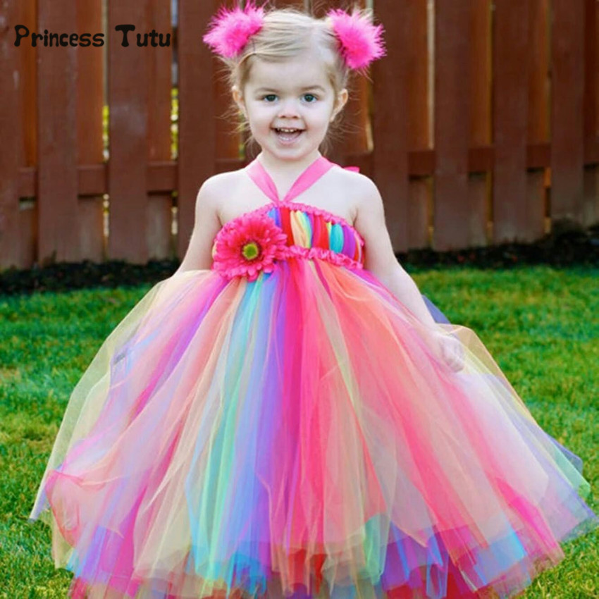 Handmade Princess Girls Rainbow Tutu Dress Tulle Flower Girl Dresses For Party And Wedding Kids Birthday Dresses Robe Enfant<br>
