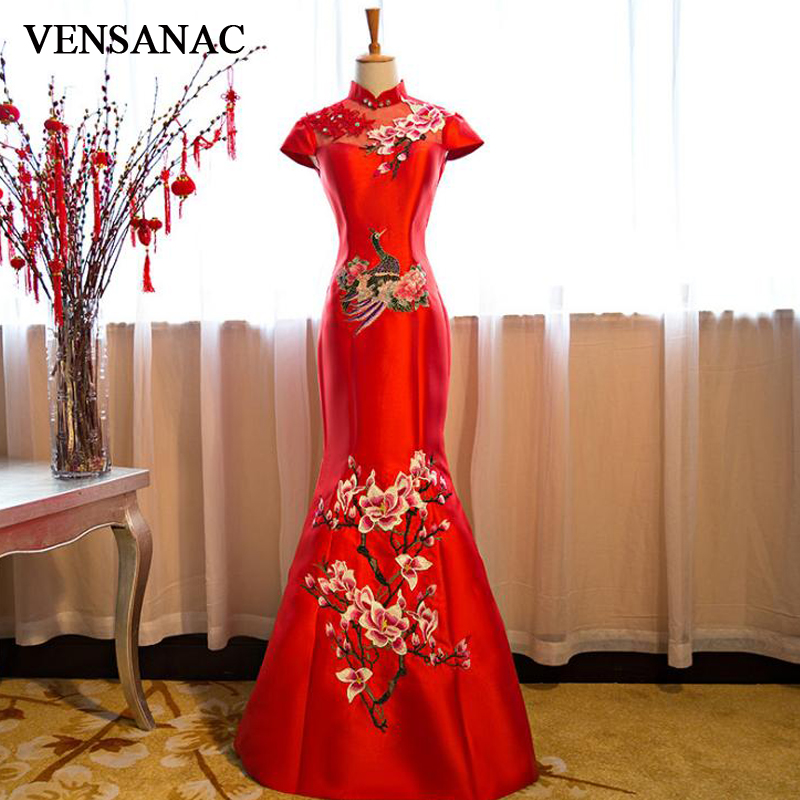 VENSANAC 2018 Vintage Crystal High Neck Pattern Embroidery Mermaid Long Evening Dresses Lace Short Sleeve Party Prom Gowns