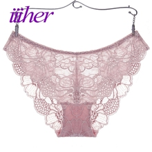 Buy iiiher Sexy Underwear Women Lace Briefs Ultra-thin Comfort Low Waist Seamless Panties Lace Transparent Womens Briefs