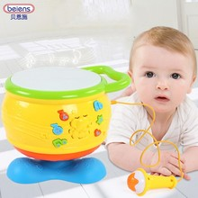 Kids Musical Drum Set Rotation With Microphone Play Music Sing Song Connect with Phone Infant Playing Type Light Animal Sounds