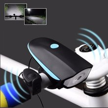 2 in 1 Cycling Mountain Bike Electric Horn Bell + Bicycle Light Headlight Vocal USB Charging or Batteries Night Riding Light(China)