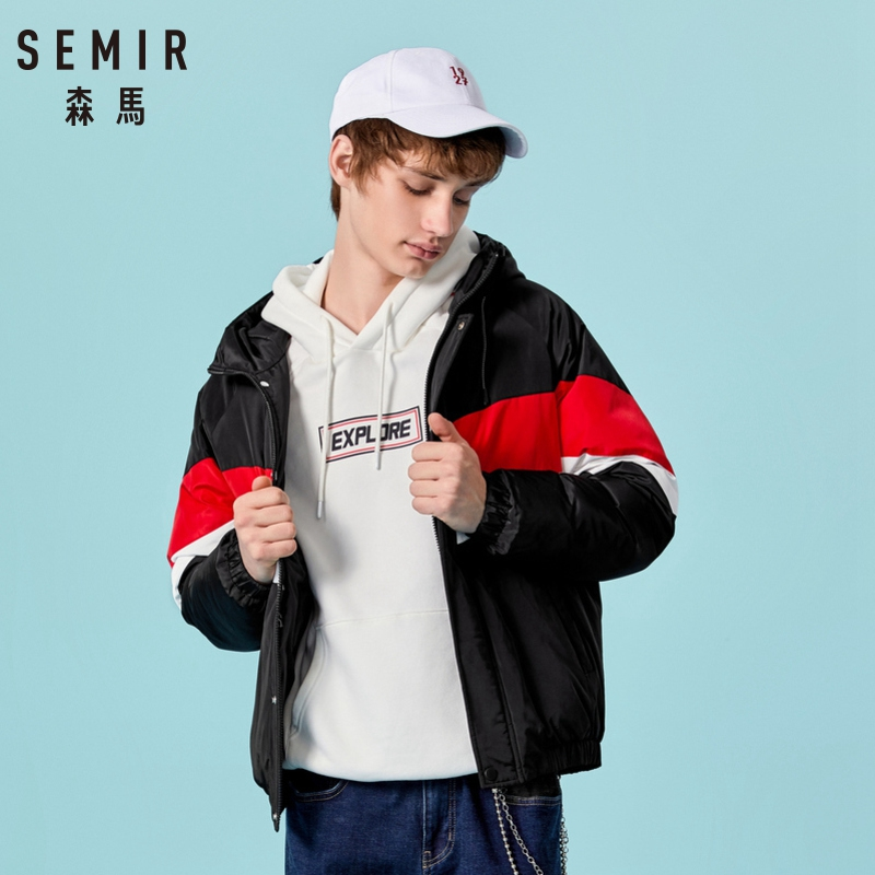 SEMIR 2018 Winter Jacket Men Cotton Warm Hooded Collar Coat with Zipper Pocket Winter Thick Outwear Mens Warm Down Casual Coats