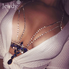 Fashion Gold Silver Color Body Chain Blue Rhinestone Multilayer Sexy Beach Bikini Harness Crystal Flower Women Bralette Jewelry