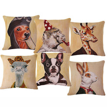 45*45cm Mr Animal Decorative Linen Cushion Seat Back Chair Throw Pillow With no Core Seat Snap Coffee Sofa Cojin Decor(China)