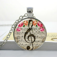 Music Pendant,G-Clef Necklace, Music Note Jewelry,Music Note Necklace, Music Necklace,Glass Picture Pendant,Round Glass Necklace