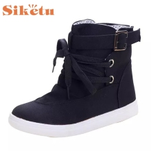 SIKETU New Canvas Women Winter Shoes Solid Color Snow Boots Cotton Inside Antiskid Bottom Keep Warm Waterproof Ski Boots
