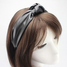 12pcs/lot Fashion Hair Accessories Wide PU Leather Hairband Center Knotted Headband for Women