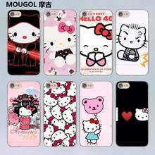 MOUGOL lovely Hello Kitty design transparent clear hard case cover for Apple iPhone 7 7Plus 6S 6 Plus 5 5s SE 5C(China)