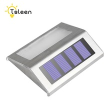 2 sets Solar Power LED Light Pathway Path Step Stair Wall Garden Lamp Outdoor Waterproof led solar light outdoor Cool White