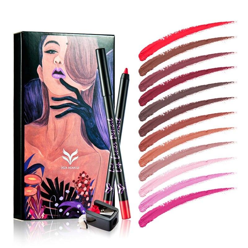 HUAMIANLI 12pcsLot Lipstick Pen Color Beauty Red Lips Baton Matte Lip Stick Waterproof Makeup Pigment Brown Nude Matte Lipstickz4