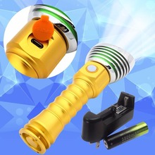 4000 Lumen USB Charge Charging T6 LED Flashlight Gold + Battery Charger(China)