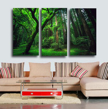 New Design 3D Green Tree Landscape Printing 3 Pcs Canvas Paintings For Living Room Elegant Wall Art Pictures No Frame