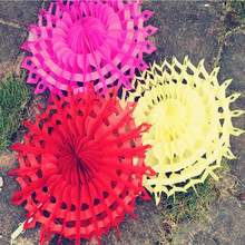 Romantic Tissue Foldable Paper Flower Fan Craft Garland Hanging Decor Party Christmas New Year(China)