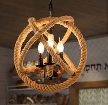 Creative pendant led light personality hemp prepared retro nostalgia light American country style chandelier Edison Bulb