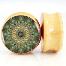 Golden Star Turtle wheel Botanical Mandala Wood Ear Plugs And Tunnel Ear Stretchers Expander 6mm-25mm Saddle Fit Plug Piercing