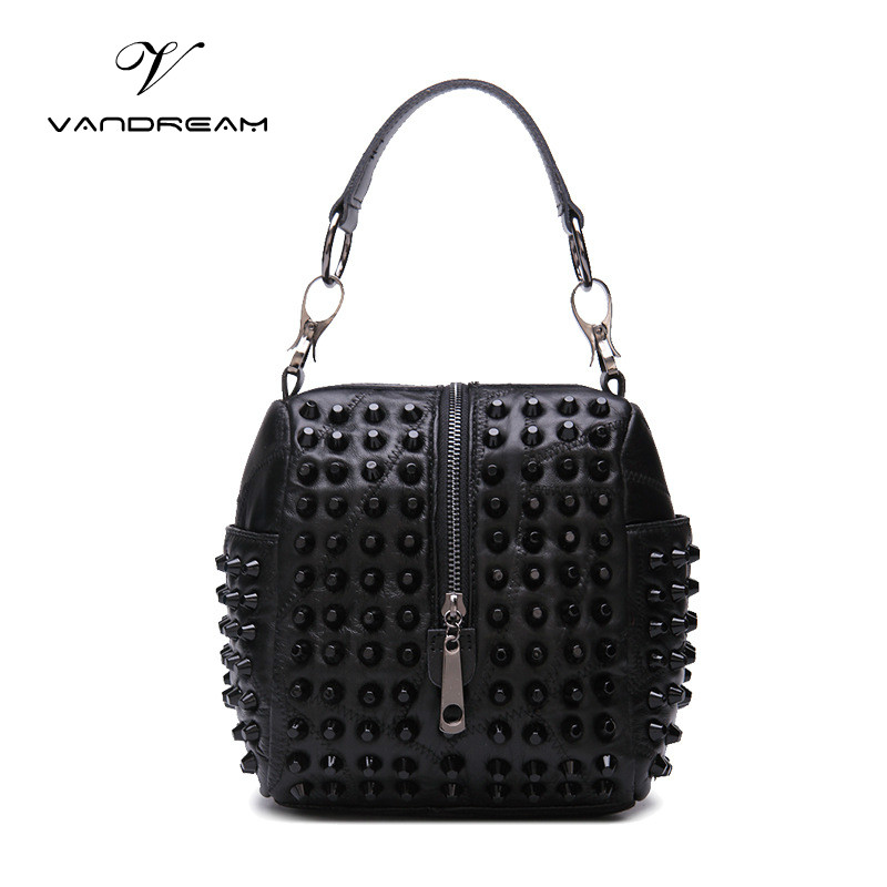 2017 Fashion Women Genuine Leather Handbag Small Mini Black Rivet Tote Purse Shoulder / Messenger / Crossbody Bag for Lady Girls<br>