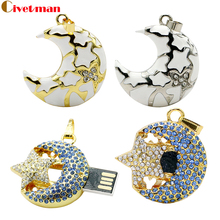 Crystal USB Flash Drive Thumb Stick Flash Disk 4GB 8GB 16GB 32GB 64GB Jewelry Necklace Moon Star Pen Drive Gifts Free shipping