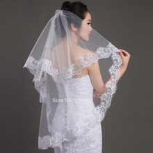 2015 Wedding Veil Wedding Accessories White Ivory One-Layer Short Bridal Veils Lace Edge Bridal Without comb Wedding Veil
