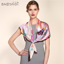 2016 New Arrival 100% Satin Silk 90*90 Large Square Scarf , BAOSHIDI Luxury Brand original design, Present for elegant lady(China)