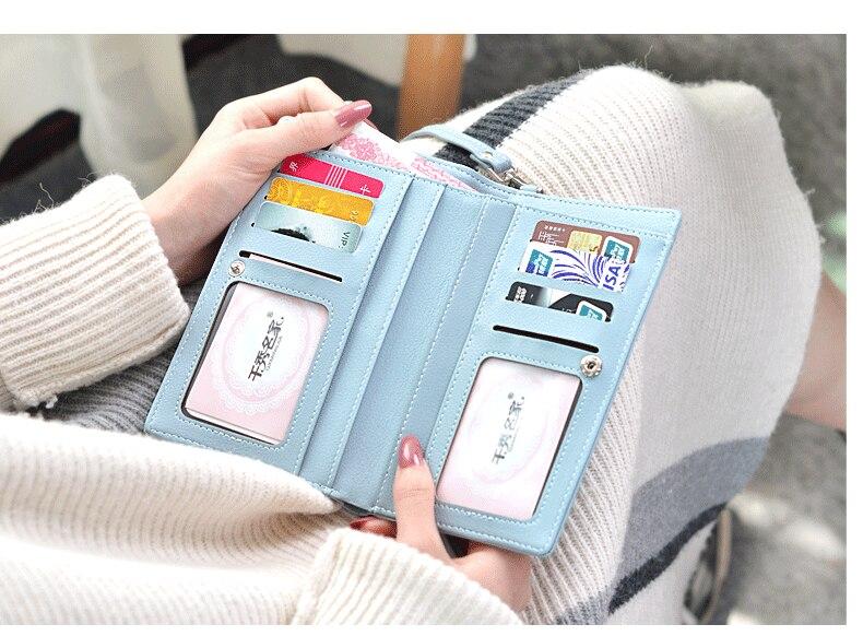 19 New Women Casual Wallet Brand Cell Phone Wallet Big Card Holders Wallet Handbag Purse Clutch Messenger Shoulder Straps Bag 32