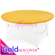 Gold colour cheap lycra top cover for spandex table linen tablecloth wedding banquet and party decoration wholesale on sale