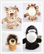 High quality,4pcs/lot,25cm large size, 4 style:Lion/Tiger/Deer/Orangutan doll,Baby Plush Toy,Hand Puppets,Talking Props(China)