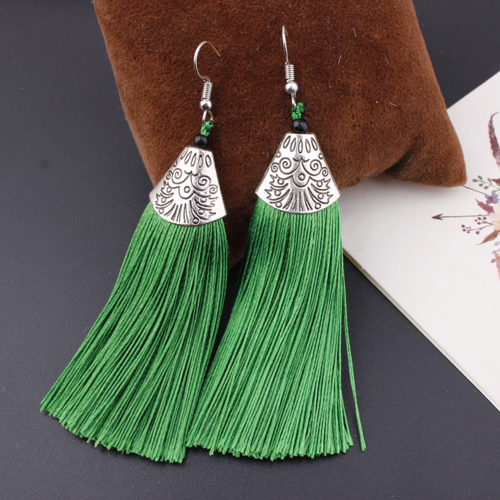 KMVEXO Vintage Silver Long Tassel Earrings Women Drop Fiber Dangle Brincos Brush Earrings Fashion Jewelry Pendientes Bijoux