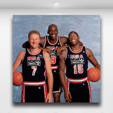 DreamTeam Jordan, Magic Johnson & Larry Bird Basketball Stars Wall Picture Canvas Prints Boy's Room Wall Decorate Painting