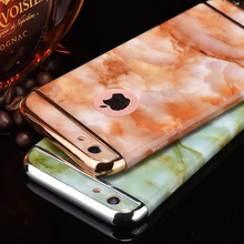 "360 Full Body Marble pattern Case for iPhone 6 6s 4.7"" Plus 5.5"" Cover 3 in1 Design Detachable Plastic Hard Phone Sleeve Fundas"
