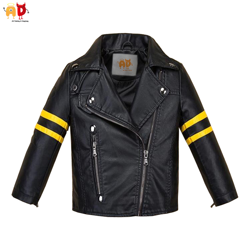 AD Fashion Yellow Striped Boy Girls Leather Jacket for Winter Autumn Soft Quality Water-resistant Leather Coat for Kids Clothing<br>