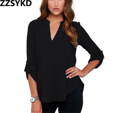 Buy ZZSYKD 2018 Fashion Sexy Women Clothing Shirt Loose Chiffon Shirt Women Solid Color Blouse V-neck Womens Tops Blouses for $6.16 in AliExpress store