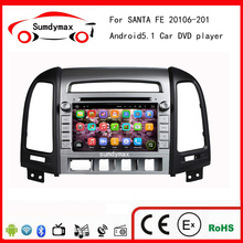 ROM 16GB Quad Core Pure Android 5.1.1 Car DVD Radio For Santa Fe 2006-2011 Stereo GPS Navigation DVR OBD fit four hole car dvd(China)