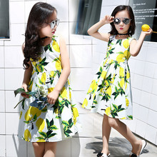 2016 Summer Style Girl Child Lemon Print Princess Knight Hawaiian Girl Dress Sleeveless dress baby dress party dress 8-14 year7(China)
