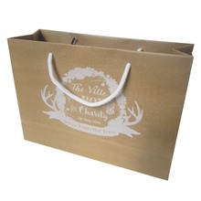 22*31*10cm 200pcs/lot brown kraft paper bag cotton rope handle custom shopping bag storage customized company logo printed(China)