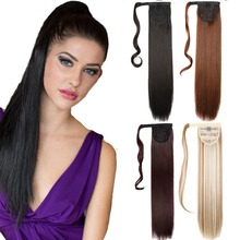 Fashion 24inch Synthetic Long Straight Ponytail Hairpieces Braid fake hair Clip In Ribbon Ponytail natural Hair Extension