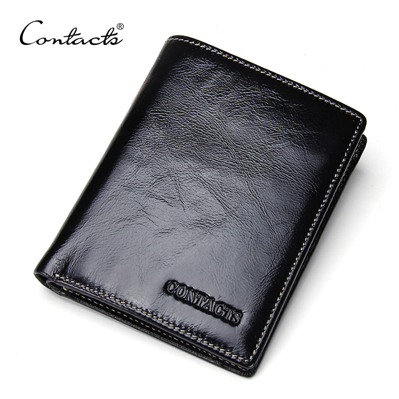 CONTACTS High Quality Oil Wax Leather Standard Wallets Men Wallet Cowhide Real Leather Brand Design Coin Bag Card Travel Purse<br><br>Aliexpress