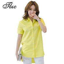 TLZC New Designer Women Fashion Blouses Short Sleeve Size M-2XL Shoulder Hollow Out Office Lady Shirts White / Yellow(China)