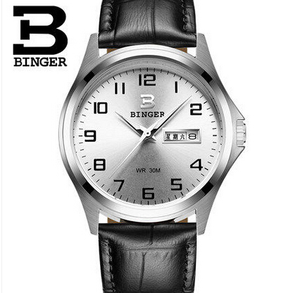 Origianl BINGER Man Genuine Leather Switzerland Watches Sapphire Glass 3ATM Water Resistant Mens Watches Golden Wristwatch<br>