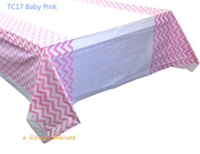 "Size108x180cm(70""x43"") Classic Pink Chevron Plastic Tablecloths For Girls Birthday Wedding Party Decoration Supplies"