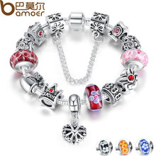 BAMOER Queen Jewelry Silver Charms Bracelet & Bangles With Queen Crown Beads Bracelet for Women PA1823(China)
