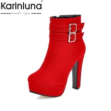 Big Size 33-47 New Fashion High Heels Ankle Boots Sexy Platform Zip Up Party Dating Shoes Women Add Fur Winter Autumn
