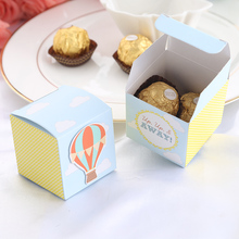 New Style Hot Air Balloon Paper Candy Box Baby Shower Favor Box Birthday Party Gift Box For Boy And Girl 12Pcs(China)