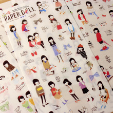 6 Sheets/lot Korean Style Paperdoll Decorative Stickers Sketch Cute Girl DIY Planner Scrapbook Diary Journal Stikers(China)